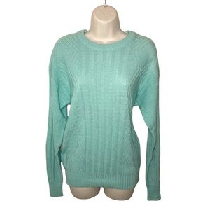 Vintage Blue Turquoise Long Sleeves Cable Knit Scoop Neck Sweater Large